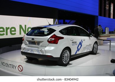 GENEVA - MARCH 2: The electric Ford Focus on display at the 81st International Motor Show Palexpo-Geneva on March 2, 2011 in Geneva, Switzerland.