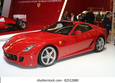 GENEVA - MARCH 2: The Ferrari 599 GTB FIORANO on display at the 81st International Motor Show Palexpo-Geneva on March 2, 2011 in Geneva, Switzerland.