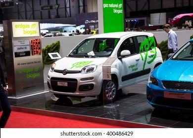 GENEVA, MARCH 2: Fiat erdgas biogas car on display at 86th international Geneva motor Show at Palexpo-Geneva on March 2, 2016 at Geneva, Switzerland.