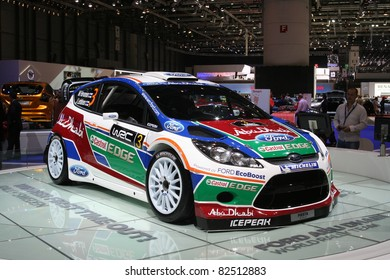 GENEVA - MARCH 2: The Ford Fiesta Rally Sweden winner on display at the 81st International Motor Show Palexpo-Geneva on March 2, 2011 in Geneva, Switzerland.