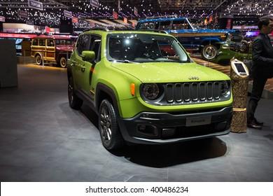 GENEVA, MARCH 2: Jeep Renegade car on display at 86th international Geneva motor Show at Palexpo-Geneva on March 2, 2016 at Geneva, Switzerland.