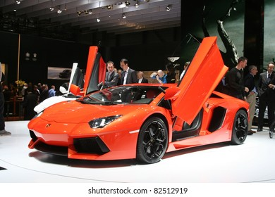 GENEVA - MARCH 2: The Lamborghini Aventador LP700-4 on display at the 81st International Motor Show Palexpo-Geneva on March 2, 2011 in Geneva, Switzerland.