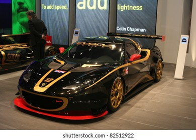 GENEVA - MARCH 2: The Lotus Evora race car on display at the 81st International Motor Show Palexpo-Geneva on March 2, 2011 in Geneva, Switzerland.