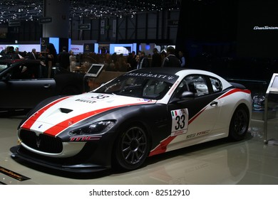 GENEVA - MARCH 2: The Maserati Granturismo race car on display at the 81st International Motor Show Palexpo-Geneva on March 2, 2011 in Geneva, Switzerland.