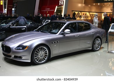 GENEVA - MARCH 2: The Maserati Quattroporte on display at the 81st International Motor Show Palexpo-Geneva on March 2, 2011 in Geneva, Switzerland.