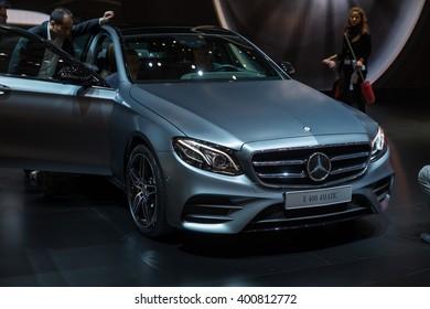 GENEVA, MARCH 2: Mercedes-Benz E400 4matic car on display at 86th international Geneva motor Show at Palexpo-Geneva on March 2, 2016 at Geneva, Switzerland.