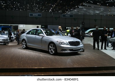 GENEVA - MARCH 2: The Mercedes-Benz S 350 BlueTEC on display at the 81st International Motor Show Palexpo-Geneva on March 2, 2011 in Geneva, Switzerland.