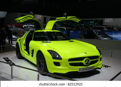 GENEVA - MARCH 2: The Mercedes-Benz SLS E-Cell with hybrid engine on display at the 81st International Motor Show Palexpo-Geneva on March 2, 2011 in Geneva, Switzerland.