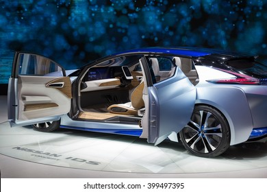 GENEVA, MARCH 2: Nissan features autonomous and all-electric IDS concept car on display at 86th international Geneva motor Show at Palexpo-Geneva on March 2, 2016 at Geneva, Switzerland.