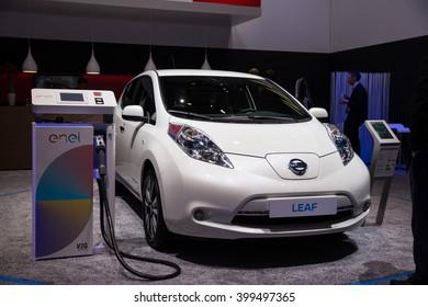 GENEVA, MARCH 2: nissan leaf Electric car on display at 86th international Geneva motor Show at Palexpo-Geneva on March 2, 2016 at Geneva, Switzerland.