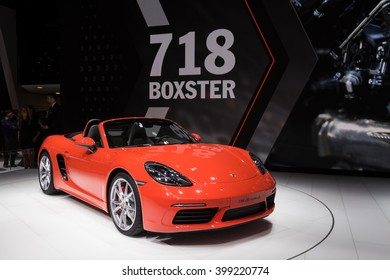 GENEVA, MARCH 2: Porsche 718 Boxster S car on display at 86th international Geneva motor Show at Palexpo-Geneva on March 2, 2016 in Geneva, Switzerland.