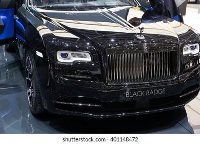 GENEVA, MARCH 2: Rolls Royce wraith Black Badge car on display at 86th international Geneva motor Show at Palexpo-Geneva on March 2, 2016  in Geneva, Switzerland.