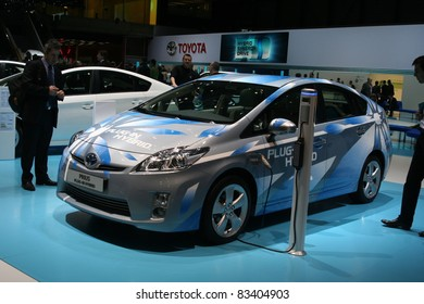 GENEVA - MARCH 2: The Toyota Prius plug-in hybrid preview on display at the 81st International Motor Show Palexpo-Geneva on March 2; 2011 in Geneva, Switzerland.