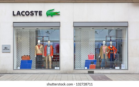 GENEVA - MARCH 24: A retail outlet for LACOSTE on March 24, 2013 in Geneva, Switzerland. Lacoste is a French apparel company that sells high-end clothing, most famously tennis shirts.