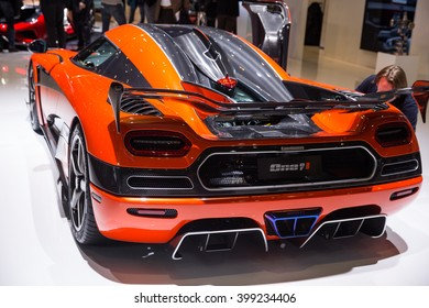 GENEVA, MARCH 2:Koenigsegg â??One of 1? Agera Final Edition car on display at 86th international Geneva motor Show at Palexpo-Geneva on March 2, 2016 in Geneva, Switzerland.
