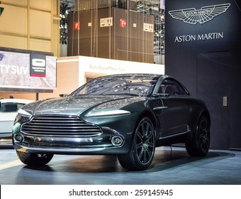 GENEVA - MARCH 3, 2015: Aston Martin presented electric all-wheel-drive DBX concept car at the 85th Geneva International Motor Show in Palexpo.