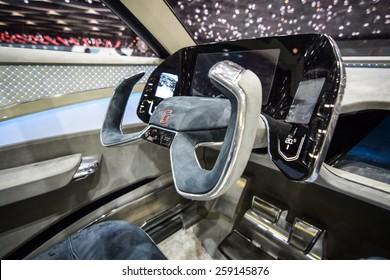 GENEVA - MARCH 3, 2015: Italdesign Giugiaro Gea presented at the 85th Geneva International Motor Show in Palexpo. Photo of the interior.