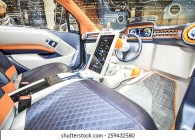 GENEVA - MARCH 3, 2015: Rinspeed Budii Concept autonomous car based on all-electric BMW i3 presented at the 85th Geneva International Motor Show. Photo of the interior.