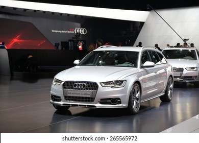 GENEVA, MARCH 3: Audi A6 allroad quattro car on display at 85th international Geneva motor Show at Palexpo-Geneva on March 3, 2015 at Geneva, Switzerland.