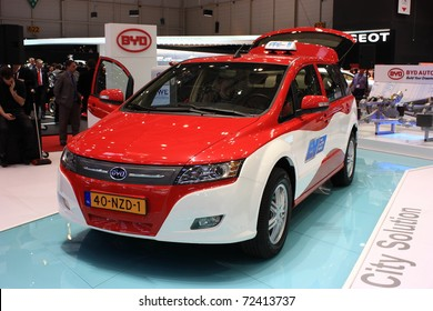 GENEVA - MARCH 3 : A BYD city solution car show on display at 81th International Motor Show Palexpo-Geneva on  March 3, 2010 in Geneva, Switzerland.
