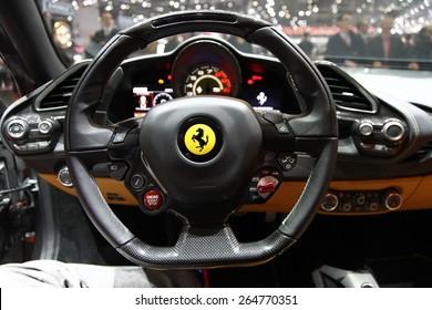 GENEVA, MARCH 3: Ferrari 488 GTB car on display at 85th international Geneva motor Show at Palexpo-Geneva on March 3, 2015 at Geneva, Switzerland.