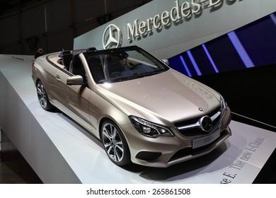 GENEVA, MARCH 3: Mercedes Benz E-Class car on display at 85th international Geneva motor Show at Palexpo-Geneva on March 3, 2015 at Geneva, Switzerland.