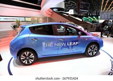 GENEVA, MARCH 3: Nissan new leaf 100% electric car on display at 85th international Geneva motor Show at Palexpo-Geneva on March 3, 2015 at Geneva, Switzerland.