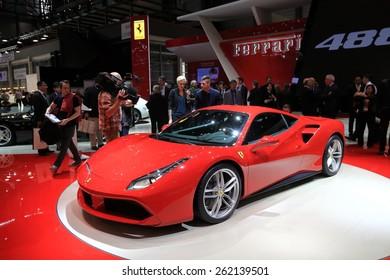 GENEVA, MARCH 3:A Ferrari 488 GTB car on display at 85th international Geneva motor Show at Palexpo-Geneva on March 3, 2015 at Geneva, Switzerland.