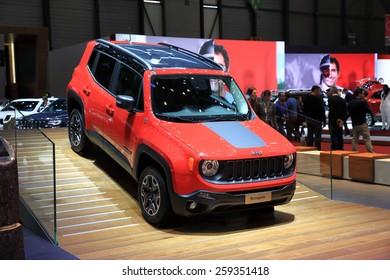 GENEVA, MARCH 3:A Jeep renegade car on display at 85th international Geneva motor Show at Palexpo-Geneva on March 3, 2015 at Geneva, Switzerland.