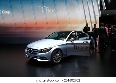 GENEVA, MARCH 3:A Mercedes Benz C350 E car on display at 85th international Geneva motor Show at Palexpo-Geneva on March 3, 2015 at Geneva, Switzerland.