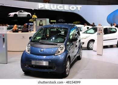 GENEVA - MARCH 4 : A PEUGEOT car on display at 80th International Motor Show Palexpo-Geneva on March 4, 2010 in Geneva, Switzerland.