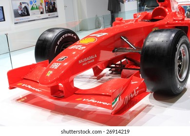 GENEVA - MARCH 7 : A Ferrari formula one F1 car on display at 79th International Motor Show Palexpo-Geneva on March 7, 2009 in Geneva, Switzerland. More than 130 vehicles being introduced.
