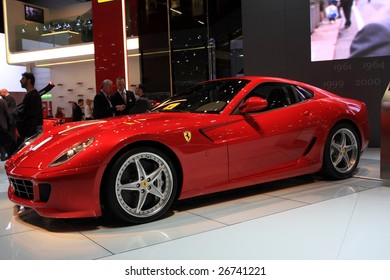 GENEVA - MARCH 7: A Ferrari sports racing car on display at 79th International Motor Show Palexpo-Geneva on March 7, 2009 in Geneva, Switzerland. More than 130 vehicles being introduced.