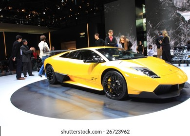 GENEVA - MARCH 7 : A lamborghini racing car on display at 79th International Motor Show Palexpo-Geneva on March 7, 2009 in Geneva, Switzerland. More than 130 vehicles being introduced.
