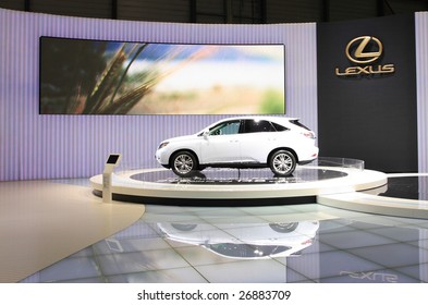 GENEVA - MARCH 7 : A Lexus RX 450h car on display at 79th International Motor Show Palexpo-Geneva on March 7, 2009 in Geneva, Switzerland. More than 130 vehicles being introduced.