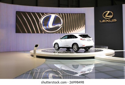 GENEVA - MARCH 7 : A Lexus RX 450h car on display at 79th International Motor Show Palexpo-Geneva on March 7, 2009 in Geneva, Switzerland. More than 130 vehicles were introduced.