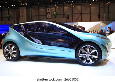GENEVA - MARCH 7: A MAZDA urban compact conceptual car on display at 79th International Motor Show Palexpo-Geneva on March 7, 2009 in Geneva, Switzerland. More than 130 vehicles being introduced.
