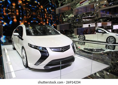 GENEVA - MARCH 7 : A  Opel Ampera car on display at 79th International Motor Show Palexpo-Geneva on March 7, 2009 in Geneva, Switzerland. More than 130 vehicles were introduced.