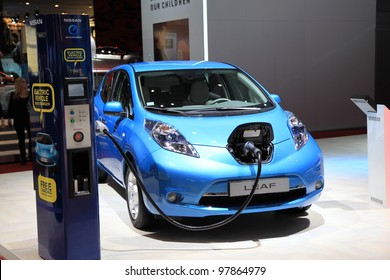 GENEVA, MARCH 8 : A Nissan  leaf electric vehicle  car on display at 82th International Motor Show Palexpo-Geneva on March 8, 2012 in Geneva, Switzerland.
