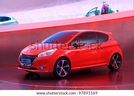 Geneva March 8 Peugeot 208 Xy Stock Photo Edit Now 97891169