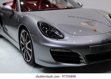 GENEVA, MARCH 8 : A Porsche boxster car on display at 82th International Motor Show Palexpo-Geneva on March 8, 2012 in Geneva, Switzerland.