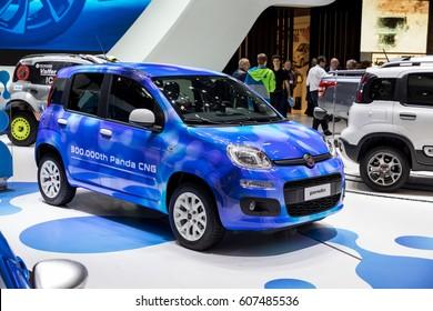 GENEVA, MARCH 9: Fiat panda car on display at 87th international Geneva motor Show at Palexpo-Geneva on March 9, 2017 at Geneva, Switzerland.