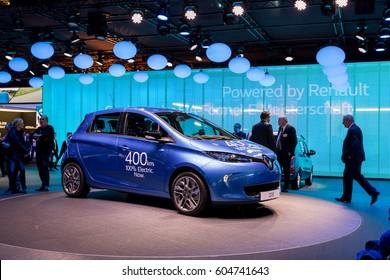 GENEVA, MARCH 9: Renault ZOE electric  car on display at 87th international Geneva motor Show at Palexpo-Geneva on March 9, 2017 at Geneva, Switzerland.