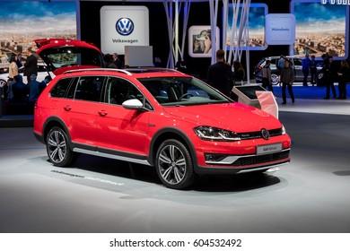 GENEVA, MARCH 9: Volkswagen  Golf Alltrack car on display at 87th international Geneva motor Show at Palexpo-Geneva on March 9, 2017 at Geneva, Switzerland.
