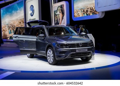 GENEVA, MARCH 9: Volkswagen Tiguan allspace car on display at 87th international Geneva motor Show at Palexpo-Geneva on March 9, 2017 at Geneva, Switzerland.