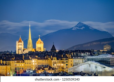 Geneva night view with the Alps
