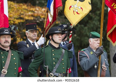 GENEVA - NOVEMBER 13: Soldiers in traditional uniform at the memorial service to Geneva soldiers on November 13, 2011 in Geneva Switzerland, attended by veterans and serving soldiers