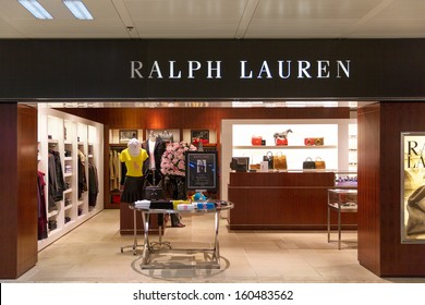 GENEVA - OCTOBER 21: A Ralph Lauren outlet, October 21, 2013, Geneva, Switzerland. Best known for the Polo Ralph Lauren clothing brand, Forbes estimated his wealth at $6.5 billion dollars in 2012.