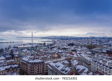 Geneva Old Town in winter, View of Geneva from the height of the Cathedral of Saint-Pierre, Switzerland