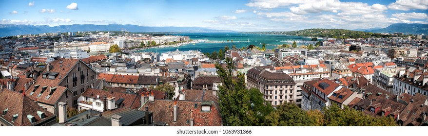 Geneva panorama from the view point in summer